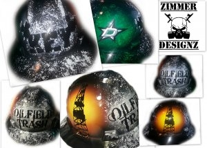 "Airbrushed hard hat ""Oilfield Trash"""