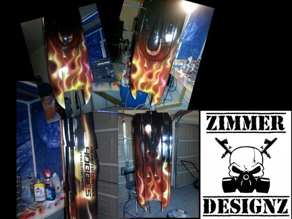 Airbrushed RC Boat, true flames. ZimmerDesignZ.com