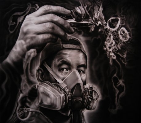 "Airbrush on canvas 48""x48"""