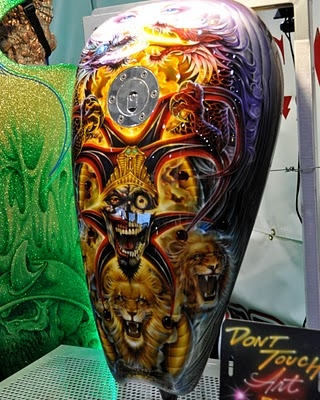 Fred Sicoli (Killer Kreations) and his extremely awesome airbrushed motorcycles were back at SEMA, both highlighting Badger Brushes