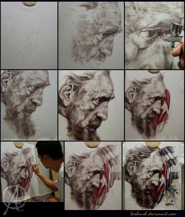 Step by step airbrush tshirt by sasbrush - Great!