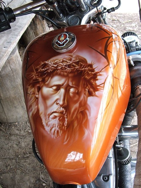 Jesus - Airbrush Art on tank - Favorite Art