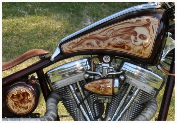 motorcycle tank airbrush art