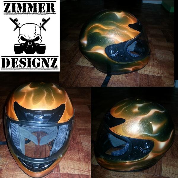 Airbrush Orange flame metal flake helmet.