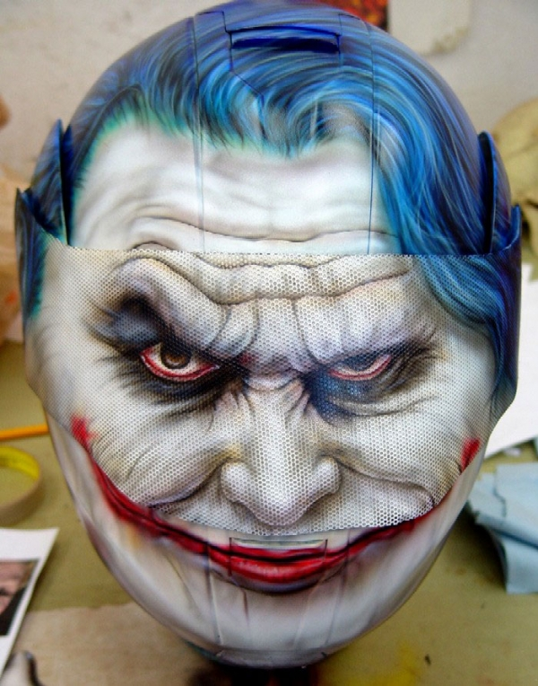 Custom Painted Joker from Batman Helmet - Airbrush Artwoks