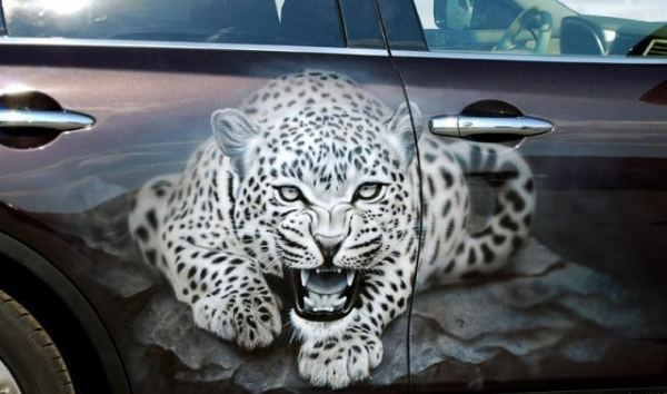 airbrush, car, infiniti, fx, painting, leopard