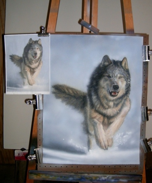 Running Wolf: step-by-step airbrush