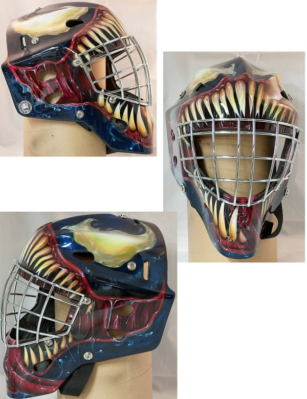 Airbrushed goalie mask done by Jason Livery of Headstrong Grafx using Badger PRO-Production and Renegade airbrushes