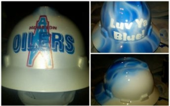 Airbrush hard hats and helmets Houston Texas welding hoods - Custom Paint and Print