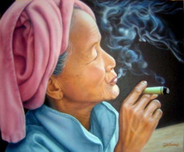 Portrait of a Thai woman on canvas.