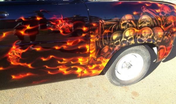 Skulls and Flames   Airbrush Art   Professional Air Brush Artist in Perth, WA