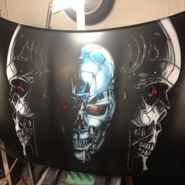Terminator bonnet / hood complete, ready for clear.