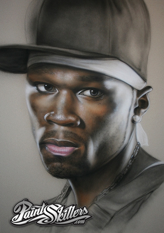 50 CENT AIRBRUSH REALISTIC PORTRAIT by Konf