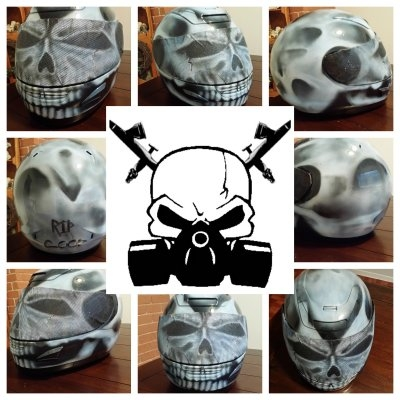 Custom airbrushed full face skull helmet