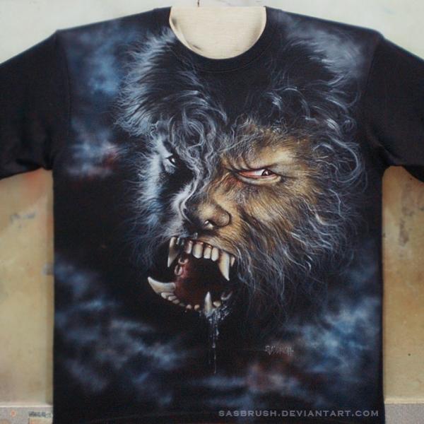 Airbrush T-shirt wolf by ~sasbrush on deviantART