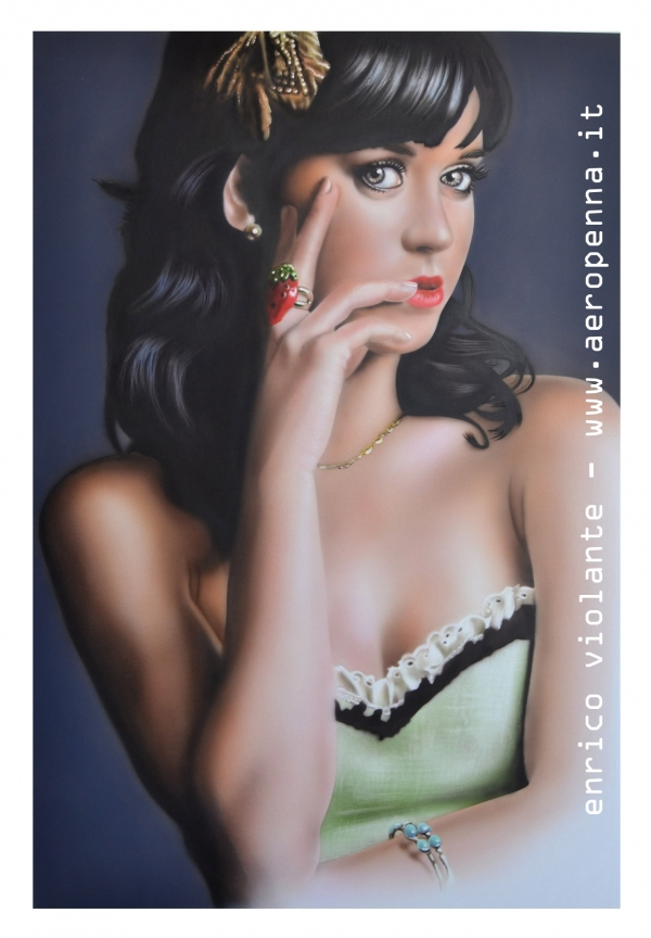 katy perry, airbrush portrait on schoeller, 40x60cm. - e'tac colour