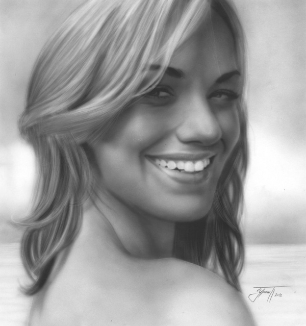 yvone strahovski airbrush painting by urosh1991