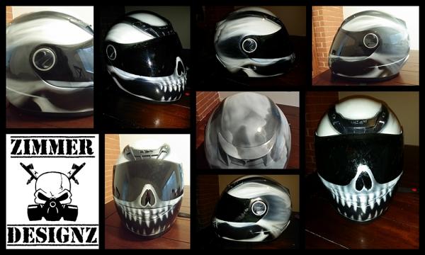 Scorpion helmet custom painted skull by ZimmerDesignZ.com