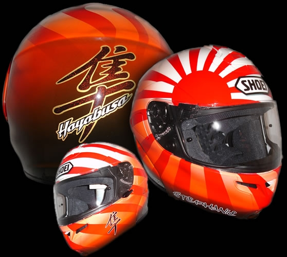 Custom painted helmets airbrush designs by airbrush artists Jo Taylor