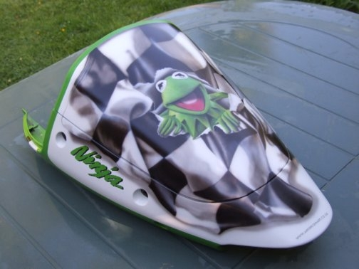 Airbrush Flag and Cartoon Artwork on Kawasaki Ninja