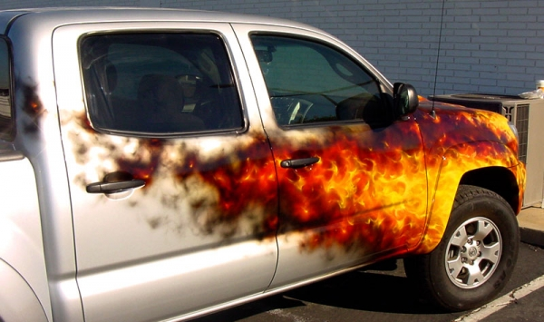 Real flames on truck - Hott Wheels Car Club