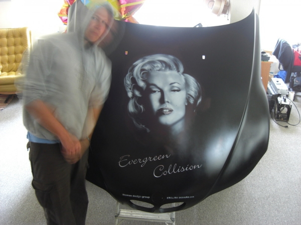 Airbrushed Marylyn Monroe portrait on BMW Roadster Hood