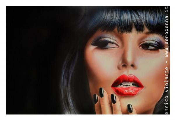 airbrush portrait on schoeller, cm.40x60