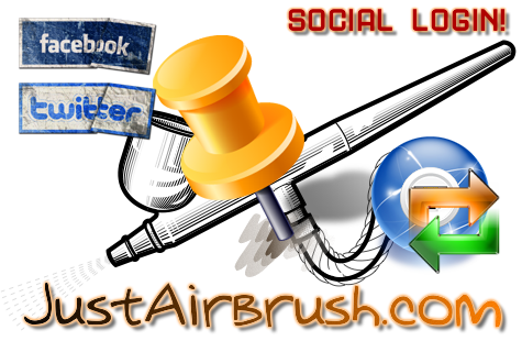 NEW! Da oggi potete REGISTRARVI o ACCEDERE a JustAirbrush.com in pochi secondi con i vostri account di Facebook & Twitter!