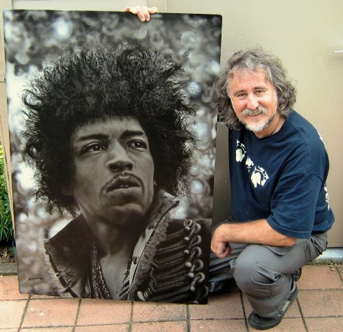 Jimi Hendrix portrait for Holly's partner Jimi - Portraits - Customs Department Airbrushing