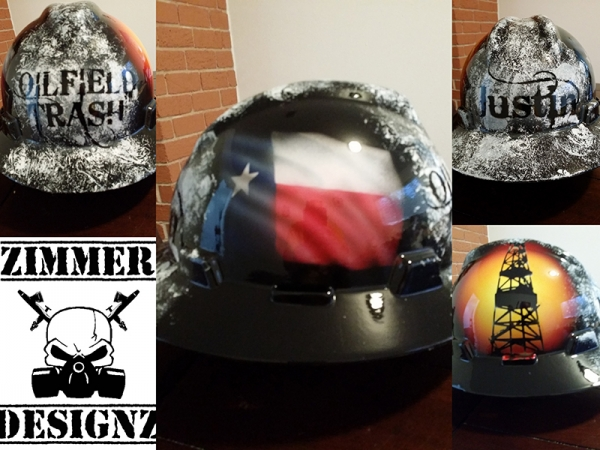 "Custom hard hat ""Oilfield Trash"""