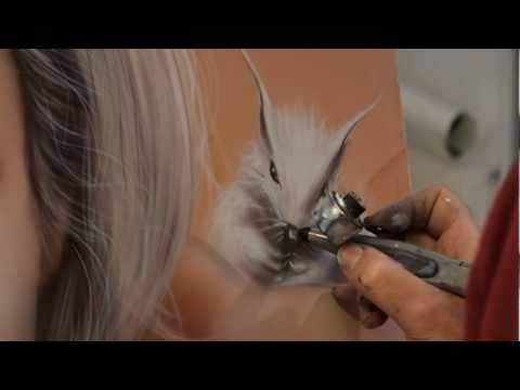 Ecureuil aérographie Squirrel airbrush painting peinture contemporaine - Airbrush Videos