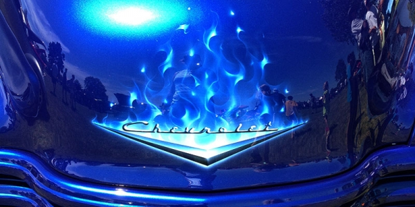Cobalt Blue Chevy Truck with Real Fire