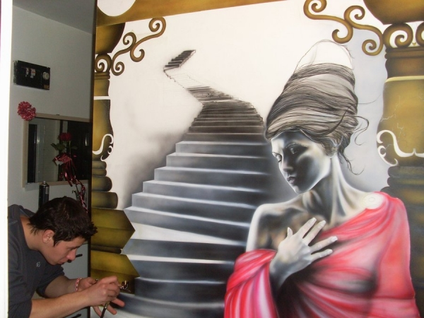 Wall airbrush in progress 2 by wolverinevt