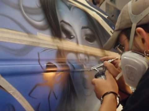 Airbrush, freehand on Audi A3, by obsn - Airbrush Videos