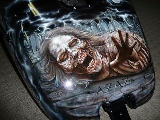 Airbrush asylum zombie harley airbrushed murals for Airbrush car mural