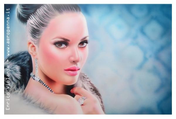 airbrush female portrait, cm.40x60, schoeller and acrilyc colours