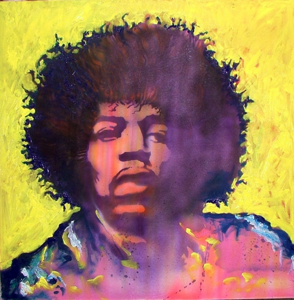 Hendrix on silk .  airbrushed and brush work  with tube acrylic.