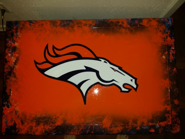 Airbrushed Denver Broncos coffee table for man cave.  By ZimmerDesignZ.com