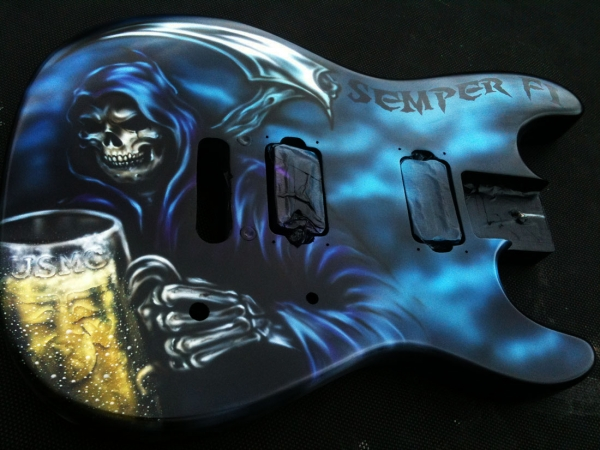 Custom Painted Guitar Grim Reaper Airbrushed USMC — Dallas AirbrushDallas Airbrush