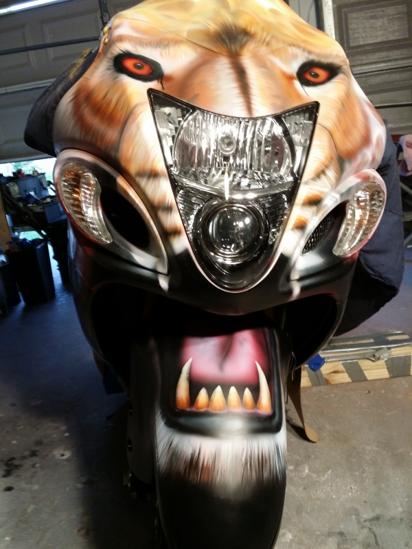 Suzuki Hayabusa with Lion Head and flaming mane for former NFL Houston Texans Charles Spencer - My Designs