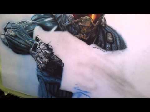 Airbrushing Nanosuit from Crysis video game - Airbrush Videos