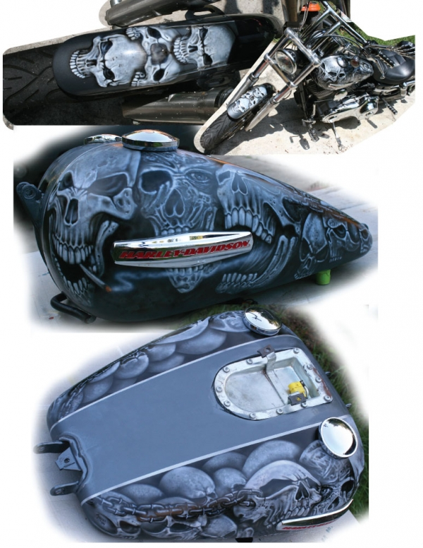 Skulls on Harley