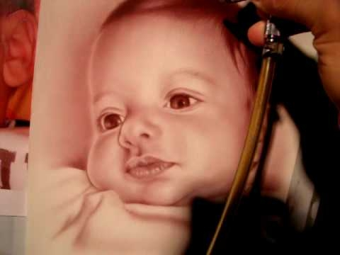 Baby portrait,Airbrush, Freehand - YouTube - Airbrush Videos