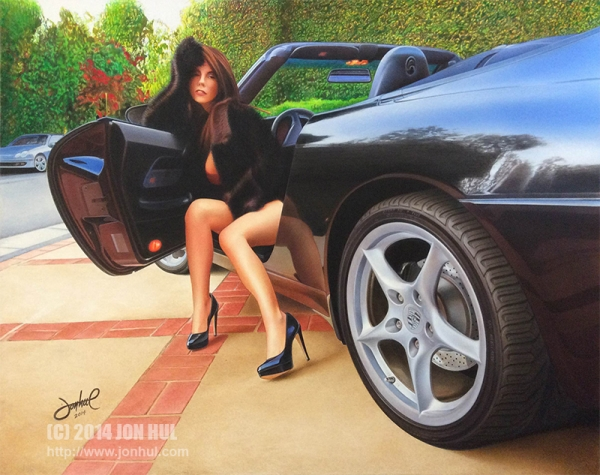 """BABE IN BLACK"" (C) 2014 Jon Hul  Acrylic airbrush & paint brush painting, rendered on illustration board."