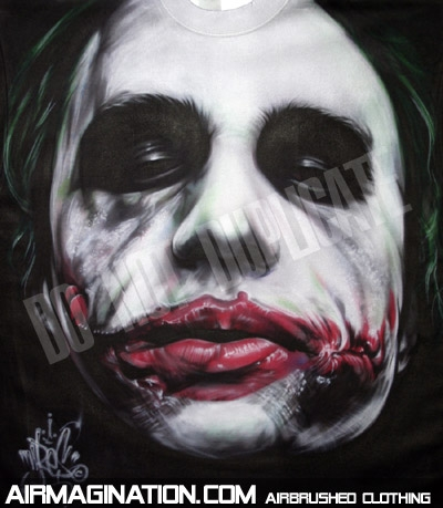 Airbrush Joker Scars Shirt | Dark Knight Airbrushed T-Shirt