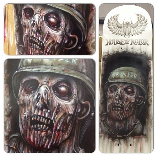 Zombie Skateboard, airbrushed today @ MotorEx on the House of Kolor and Anest Iwata stands.