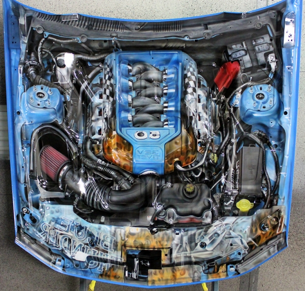 """House of Kolor- underbelly of a 2012 Mustang GT.  The """"entire"""" engine was reproduced in reverse for a mirror image effect."""