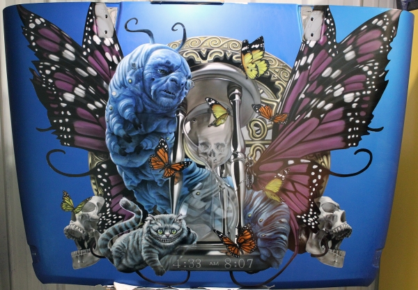House of Kolor, 2015 Jeep Wrangler hood.  Alice in Wonderland theme.