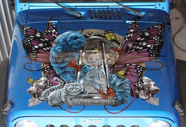 House of Kolor, 2015 Jeep Wrangler hood.  Alice in Wonderland theme.