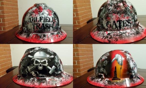 Detailed Oilfield Trash Custom painted hard hat